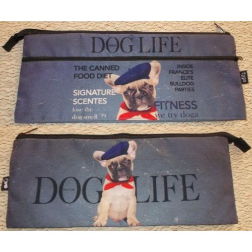Typo FRENCH BULLDOG PENCIL CASE - Makeup Pouch - 2 Zippers - AS NEW / UNUSED