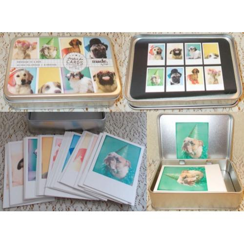 Typo Message in a Box DOG CARDS for Scrapbooking / GIFT TAGS - 40 Mini Polaroids 8 Designs in TIN