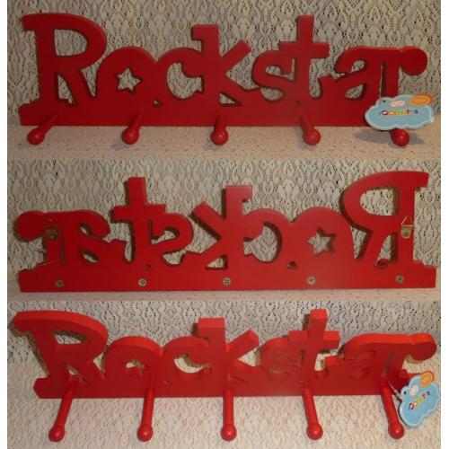 Roomates Wall Mount RED COAT HAT PEGS HOOKS HANGER - ROCKSTAR - MDF - 5 Pegs - NEW