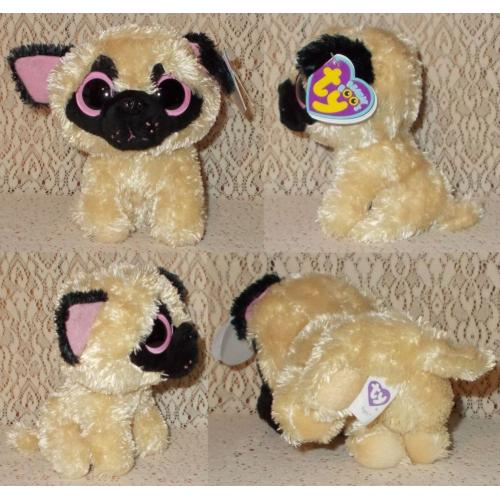 TY BEANIE BOO'S PUGSLY DOG with Tags - Height 13cm - AS NEW