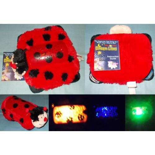 Pillow Pets DREAM LITES LADYBIRD Night Light Soft Toy - 28cm x 22cm - with Instruction Booklet