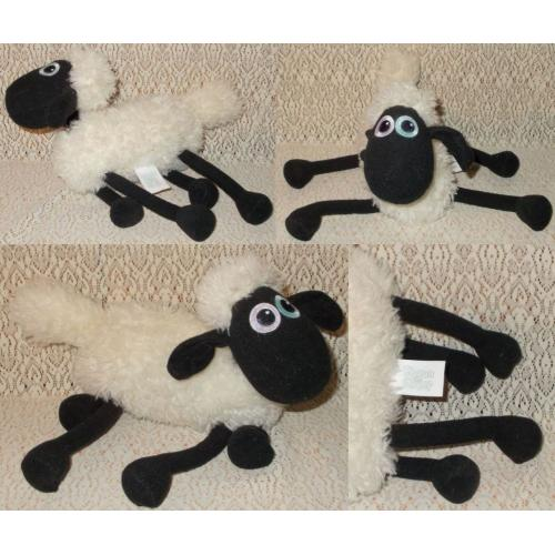 SHAUN the SHEEP Plush Soft Toy - Length 28cm - SHIVERS when tail is pulled