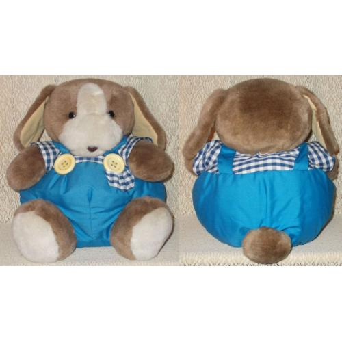 BUNNY RABBIT in Blue Playsuit Plush Soft Toy - Height 33cm Sitting