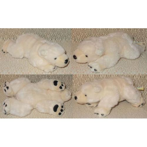 World 4 Kids POLAR BEAR Soft Plush Toy - Length: 22cm