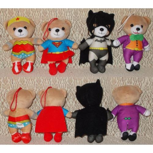 Justice League America BEARS x 4 - Foodland Promo Plush Soft Toys - Height 13 - 15cm