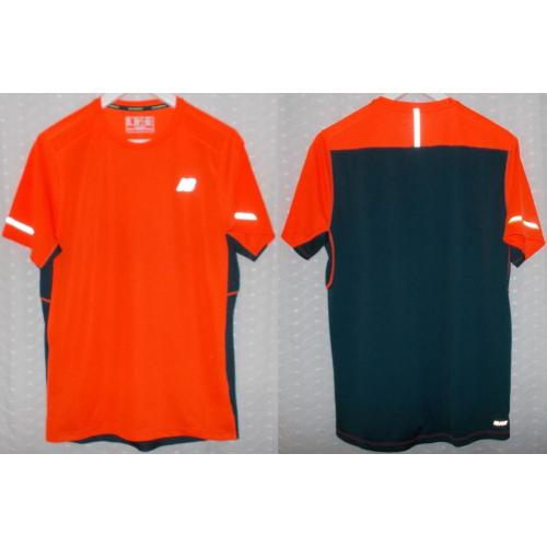 NEW BALANCE NB Ice Short Sleeve Stretch TOP - Neon Orange / Navy Blue - Mens Teens Size S