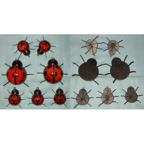 FAMILY of LADYBIRDS x 7 - METAL Hanging Wall Fence Garden ORNAMENTS