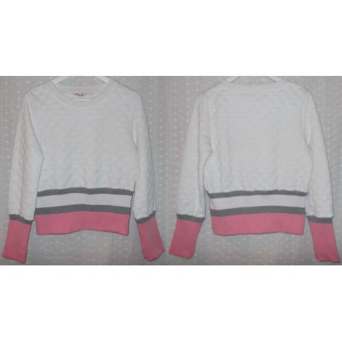 GUM Brand WHITE with Pink / Grey Stretch Long Sleeve JUMPER TOP - Girls Size 16