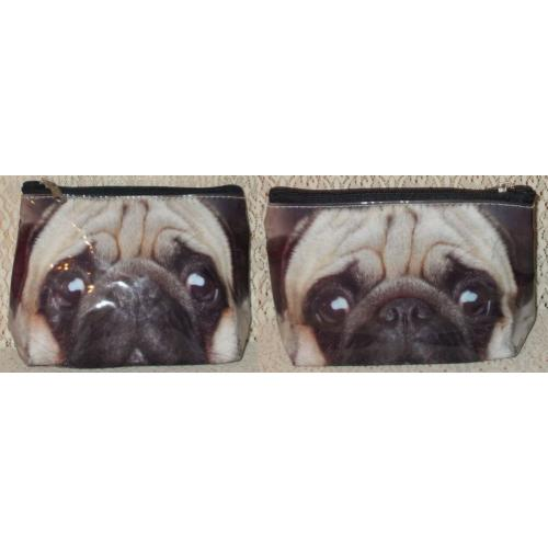 FACTORIE Brand MAKE UP Cosmetic BAG / PURSE - Pug Dog - NWOT