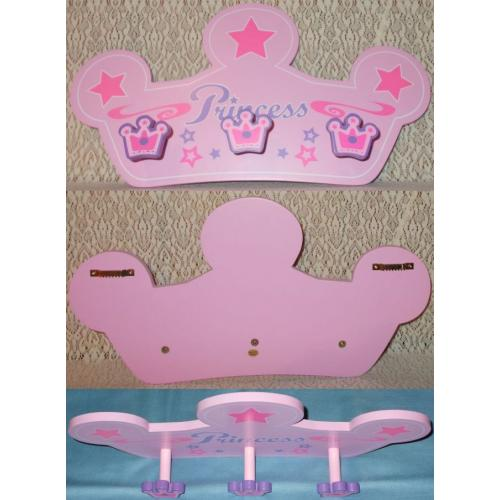 Wall Mount PINK COAT HAT Jewellery PEGS HOOKS HANGER - Princess - MDF - 3 Pegs