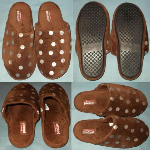 TIMTAM Tim Tam Plush SCUFFS / Slippers - Chocolate Brown with Silver Spots - Size 38 - AS NEW