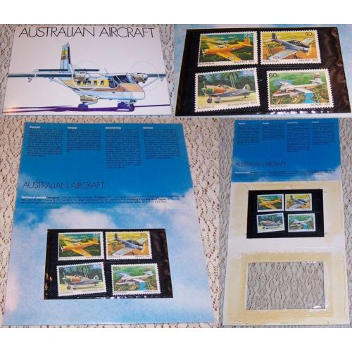 1980 Australian Aircraft STAMP PACK Folder of 4- Wackett Boomerang Winjeel Nomad