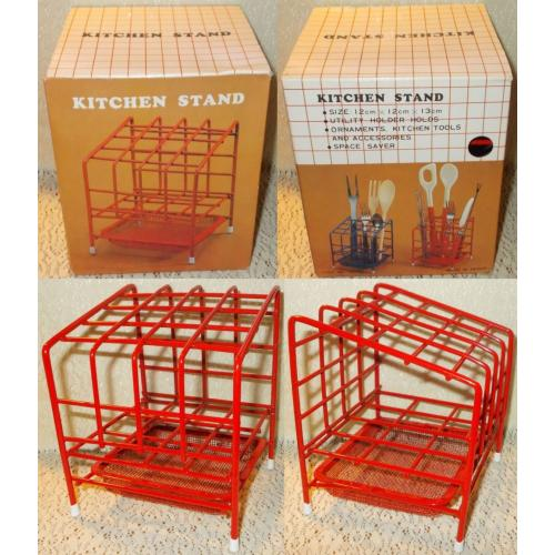 RED KITCHEN STAND Holder for Cutlery / Utensils - Plastic Coated Metal - Taiwan