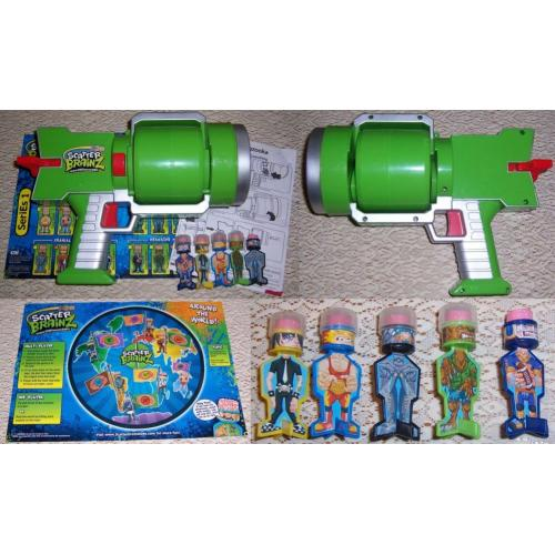 2012 Series 1 Scatter Brainz BRAIN BAZOOKA - Green - with 5 x Darts / Target / Instruction Sheet
