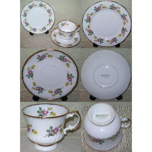 VINTAGE ELIZABETHAN TRIO Plate Saucer Cup - Pink / Yellow Floral