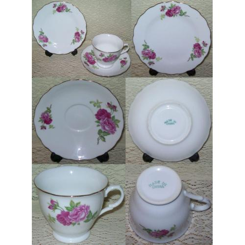 VINTAGE Unbranded MADE IN CHINA TRIO Plate Saucer Cup - Pink Roses