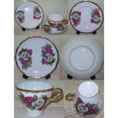 VINTAGE Unbranded PORCELAIN TRIO Plate Saucer Cup - Pink and White Roses