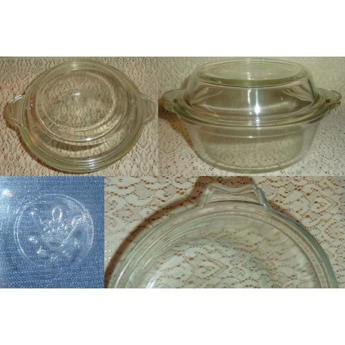 Vintage SMALL Clear Glass PYREX CASSEROLE with LID - Diameter: 15cm