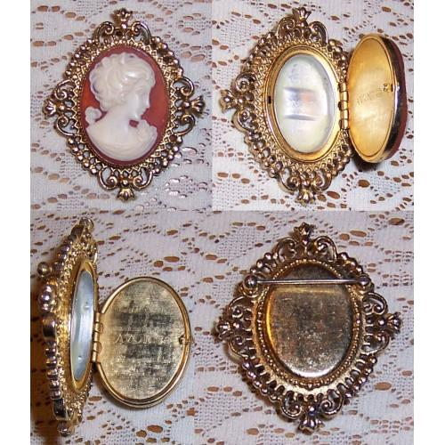 Vintage AVON BROOCH / PHOTO LOCKET - CAMEO OF A LADY - Perfume Glace Brocade