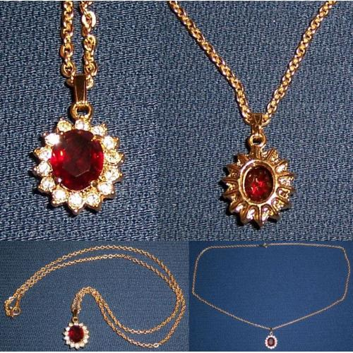 Vintage GOLD TONE RED and CLEAR RHINESTONE PENDANT with Chain