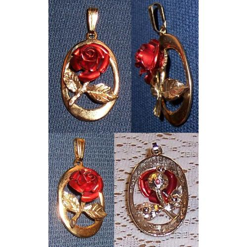 VINTAGE GOLD TONE RED ROSE PENDANT - 4.4cm including Bail/Bale