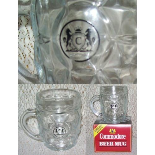 Retro COMMODORE Cigarettes 500ml kaaru GLASS DIMPLE BEER MUG - Made in New Zealand - Boxed - NEW / UNUSED