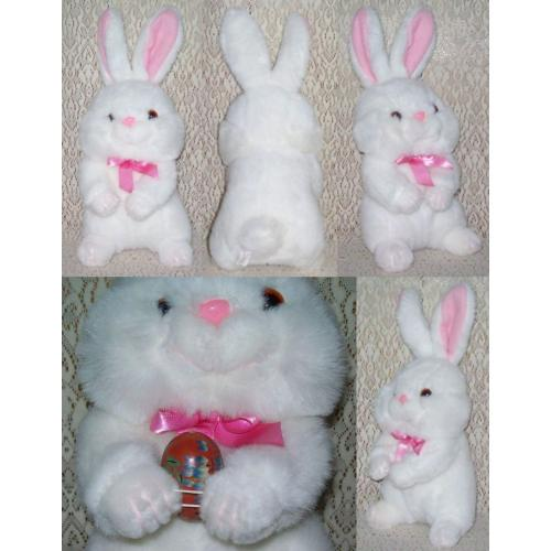Plush Soft Toy WHITE EASTER BUNNY RABBIT with Pink Neck Bow