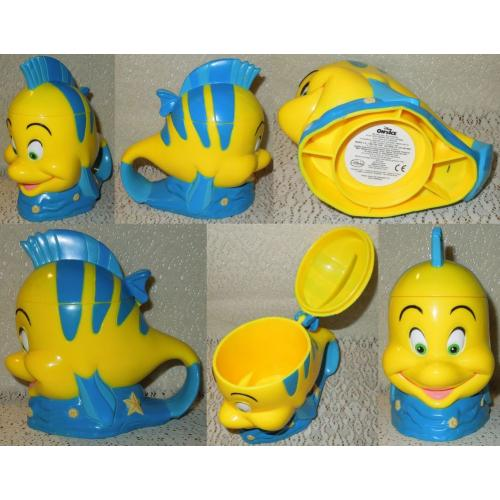 Disney On Ice Little Mermaid FLOUNDER CUP / MUG with Handle and Hinged Lid