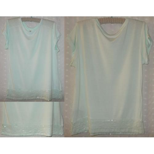 JUST JEANS Cap Sleeve TOP - Pale Green - Sequin Trim Shoulders and Hem - Girls Size 12