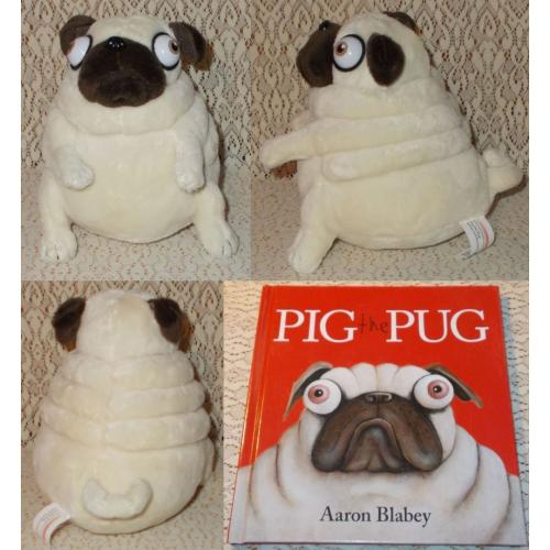 PIG THE PUG Plush Soft Toy - 13cmH and PIG the PUG Book Aaron Blabey - AS NEW
