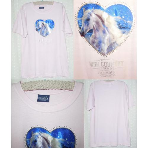Australian Outback Spectacular High Country Legends T SHIRT / TOP - PINK with HORSE Motif - Girls Size 10 - AS NEW