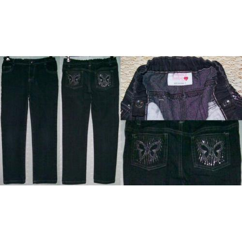 FUNKY BABE Junior Almost Black STRETCH JEANS - Girls Size 7 - Butterfly and Sequins