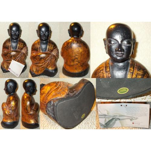 BLACK POLY STONE HAND PAINTED Hand Crafted MEDITATING BUDDHIST MONK - Dasch Gallery - Age Unknown