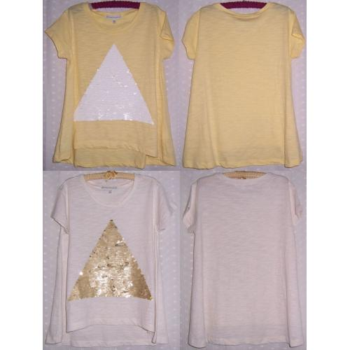 Witchery 8 Fourteen Cotton TOPS x 2 - Sequin Fronts - Girls Size 12 - AS NEW