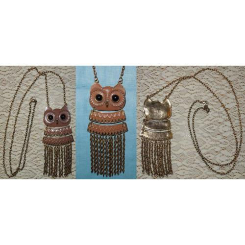GOLDTONE Metal ENAMEL OWL PENDANT Necklace on LONG CHAIN - NEW