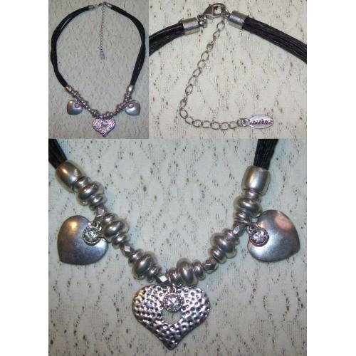 Susan Rose NECKLACE - LEATHER CORD NECKLACE CHOKER with Heart Shaped Pendants
