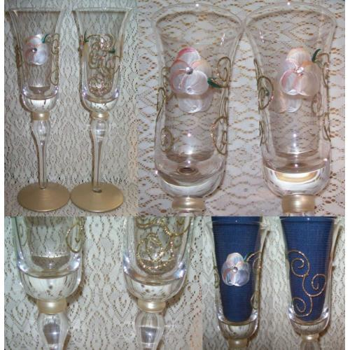HANDPAINTED Wine CHAMPAGNE Flute GLASSES - Wedding / Engagement / Any Occasion