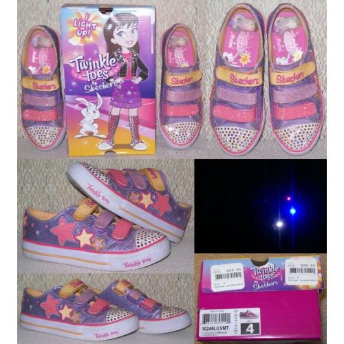TWINKLE TOES by SKECHERS Lavender / Multi - Light Up Shoes - Girls Size 4 Boxed