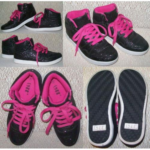 Nineteen88 1988 SHOES SNEAKERS Shimmer Hi-Top Girls Teens Size 4 Black / Fuchsia